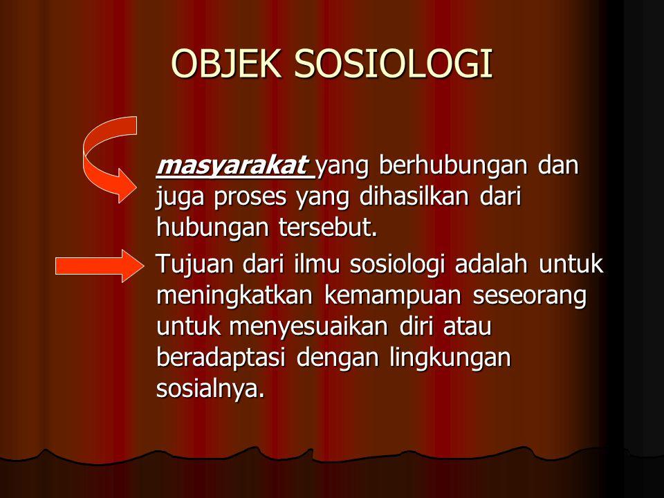 OBJEK SOSIOLOGI masyarakat yang berhubungan dan juga proses yang dihasilkan dari hubungan tersebut.