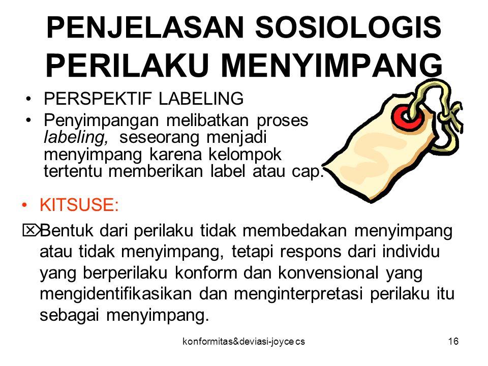PENJELASAN SOSIOLOGIS PERILAKU MENYIMPANG