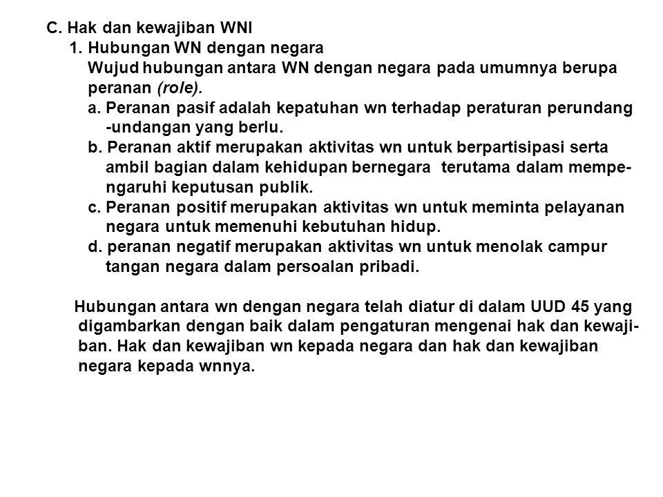 C. Hak dan kewajiban WNI 1. Hubungan WN dengan negara. Wujud hubungan antara WN dengan negara pada umumnya berupa.