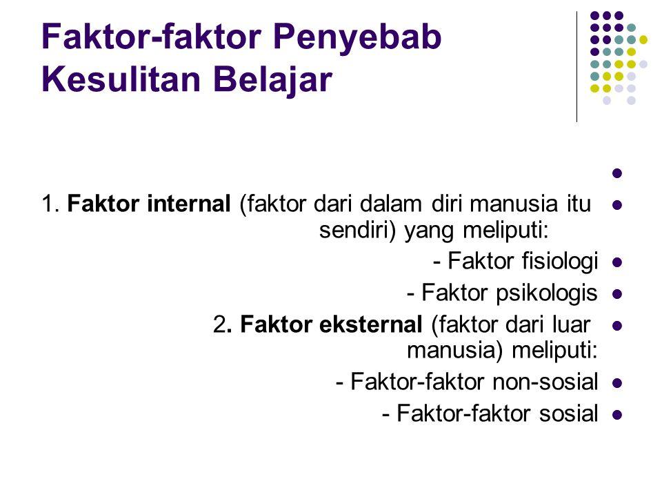 Faktor-faktor Penyebab Kesulitan Belajar
