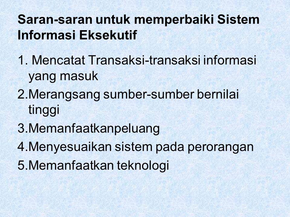 Saran-saran untuk memperbaiki Sistem Informasi Eksekutif