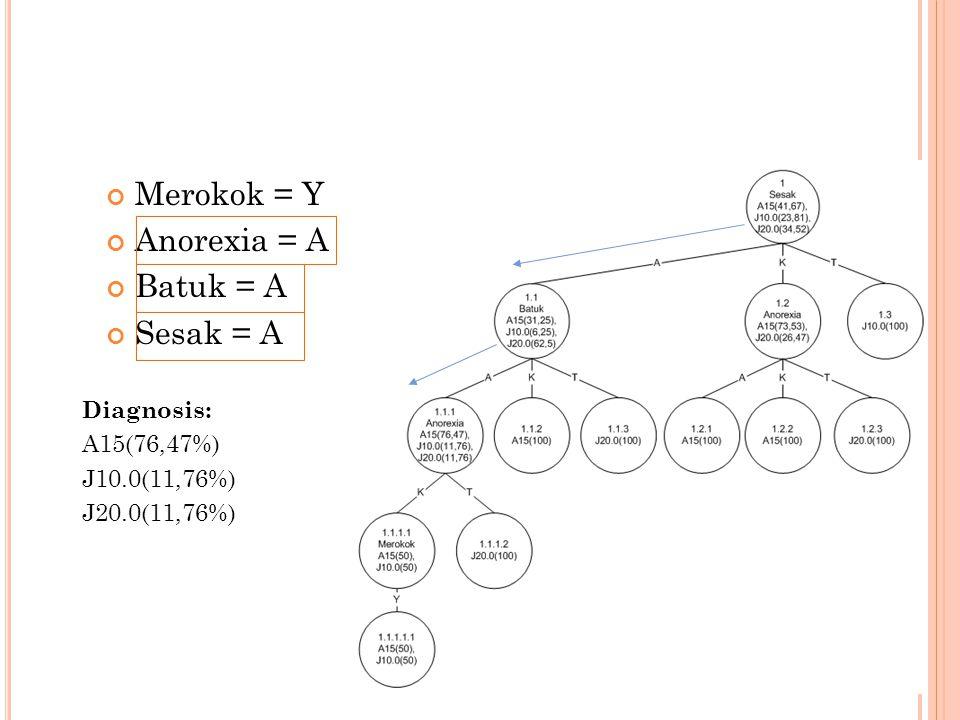 Merokok = Y Anorexia = A Batuk = A Sesak = A Diagnosis: A15(76,47%)