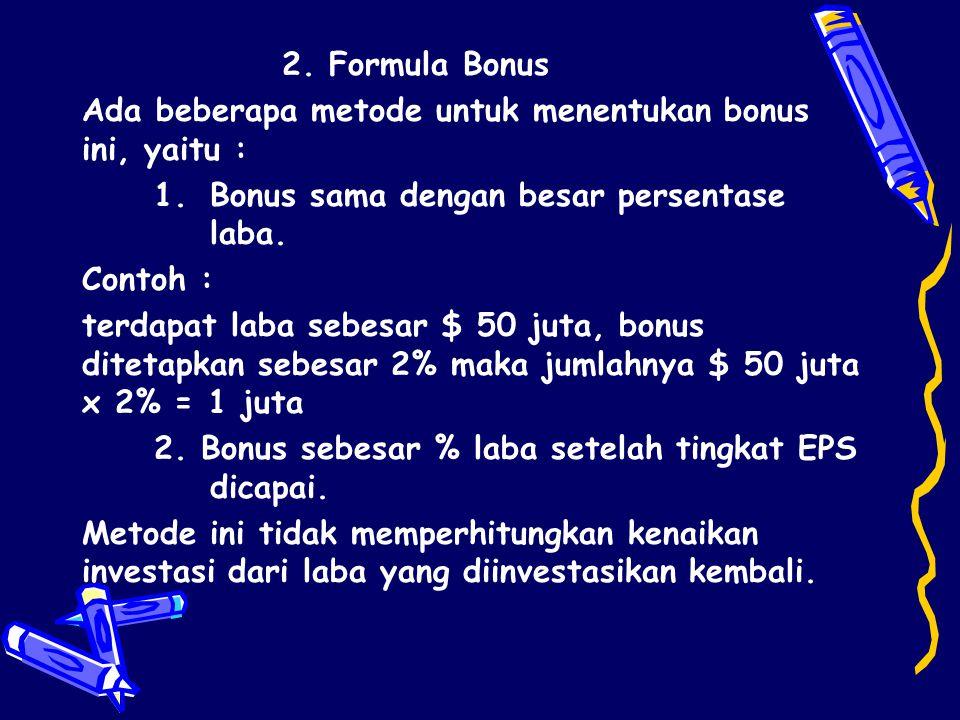 2. Formula Bonus Ada beberapa metode untuk menentukan bonus ini, yaitu : Bonus sama dengan besar persentase laba.