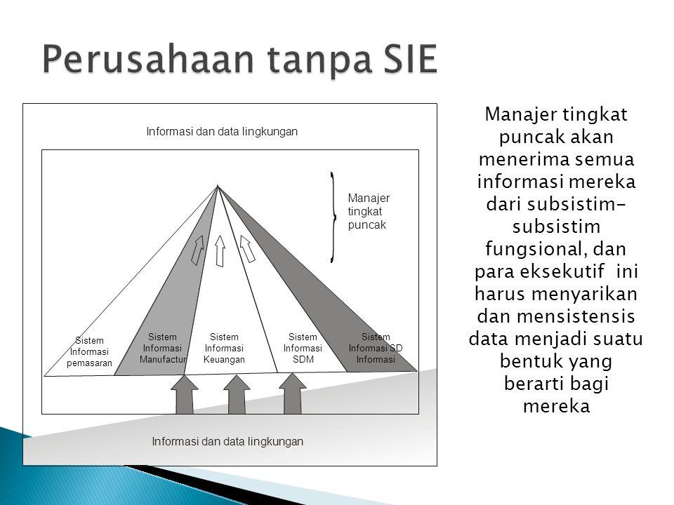 Perusahaan tanpa SIE Sistem Informasi pemasaran. Informasi dan data lingkungan. Manajer tingkat puncak.
