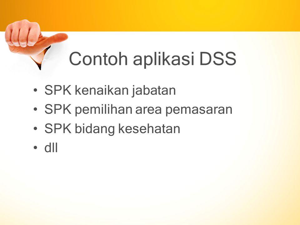 Contoh aplikasi DSS SPK kenaikan jabatan SPK pemilihan area pemasaran