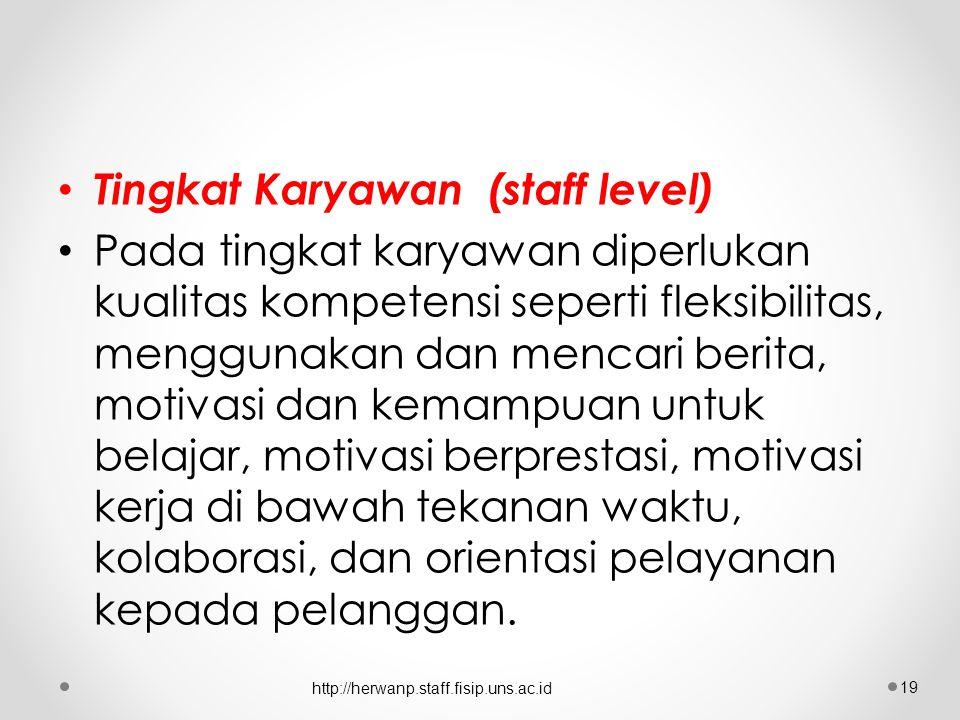 Tingkat Karyawan (staff level)