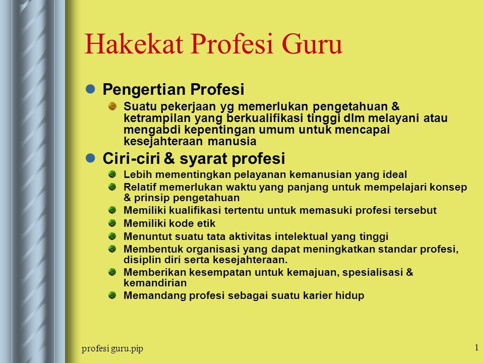Hakekat Profesi Guru Pengertian Profesi Ciri-ciri & syarat profesi