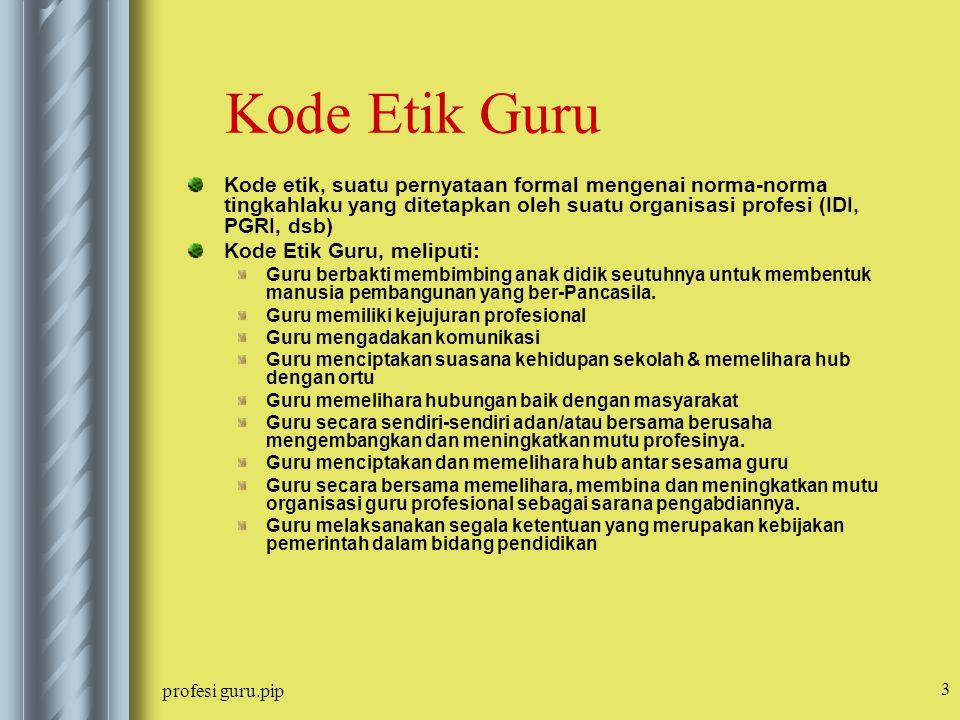 Kode Etik Guru Kode etik, suatu pernyataan formal mengenai norma-norma tingkahlaku yang ditetapkan oleh suatu organisasi profesi (IDI, PGRI, dsb)