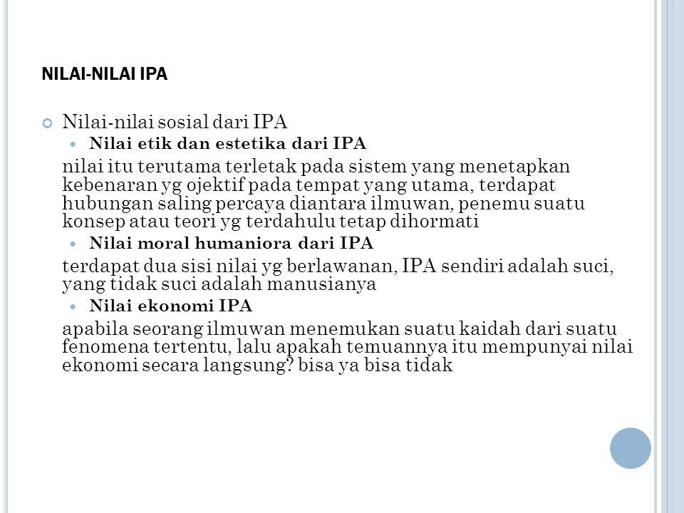 Nilai-nilai sosial dari IPA