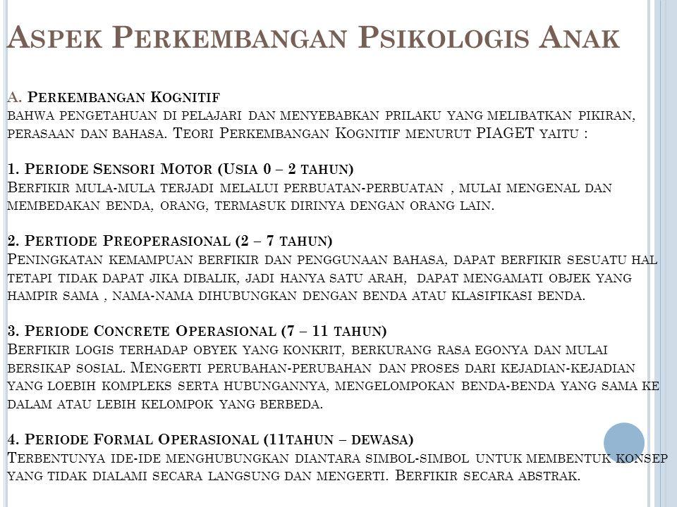 Aspek Perkembangan Psikologis Anak A