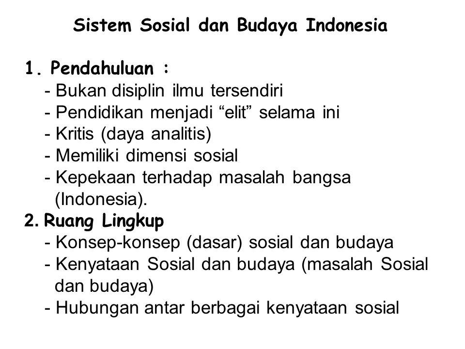 Sistem Sosial dan Budaya Indonesia