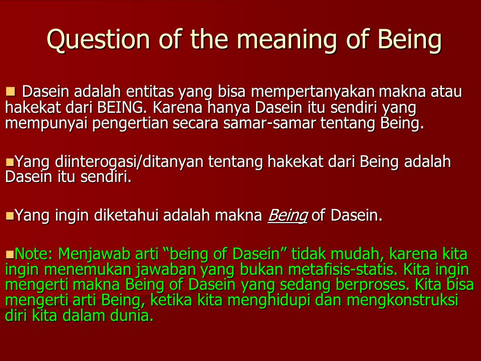 Question of the meaning of Being