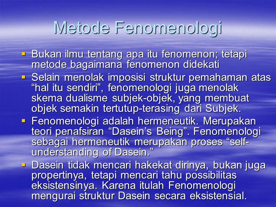 Metode Fenomenologi Bukan ilmu tentang apa itu fenomenon; tetapi metode bagaimana fenomenon didekati.