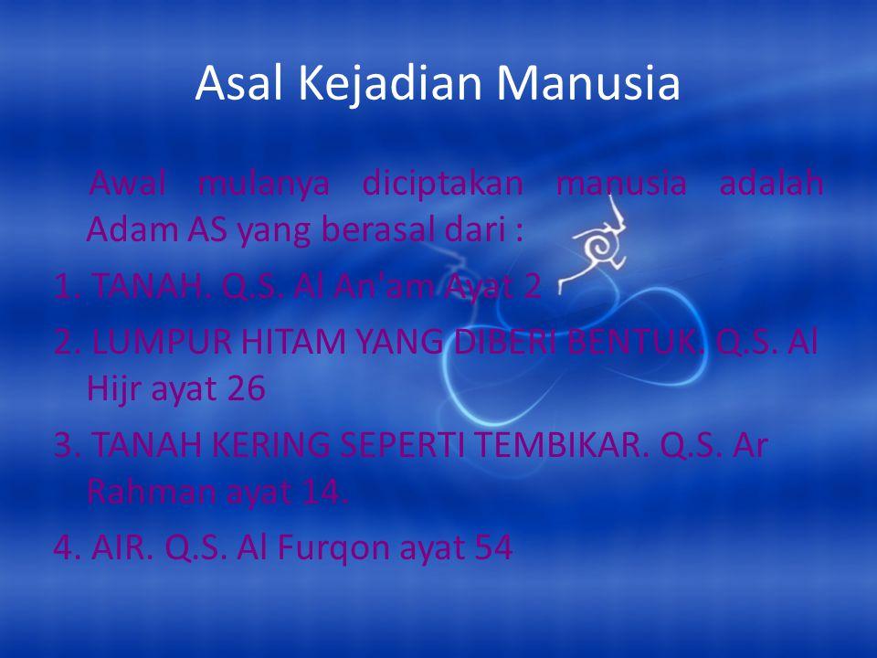 Asal Kejadian Manusia Awal mulanya diciptakan manusia adalah Adam AS yang berasal dari : 1. TANAH. Q.S. Al An am Ayat 2.