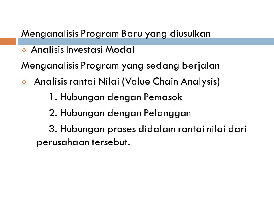 Menganalisis Program Baru yang diusulkan