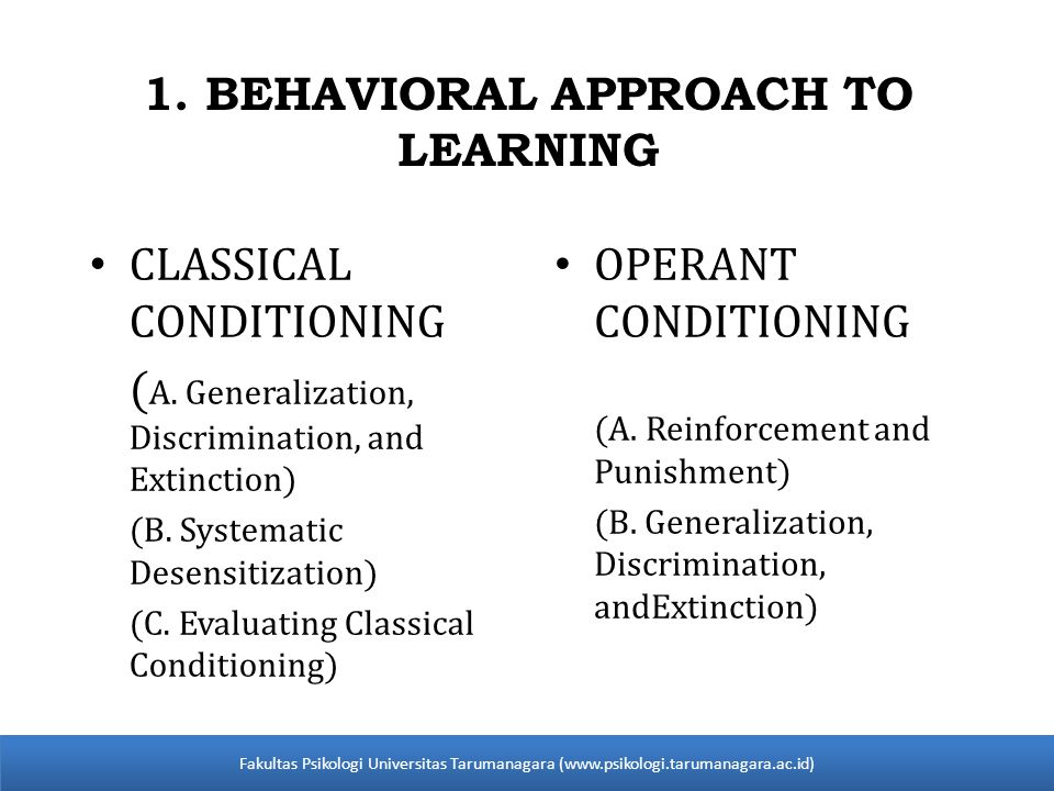 1. BEHAVIORAL APPROACH TO LEARNING