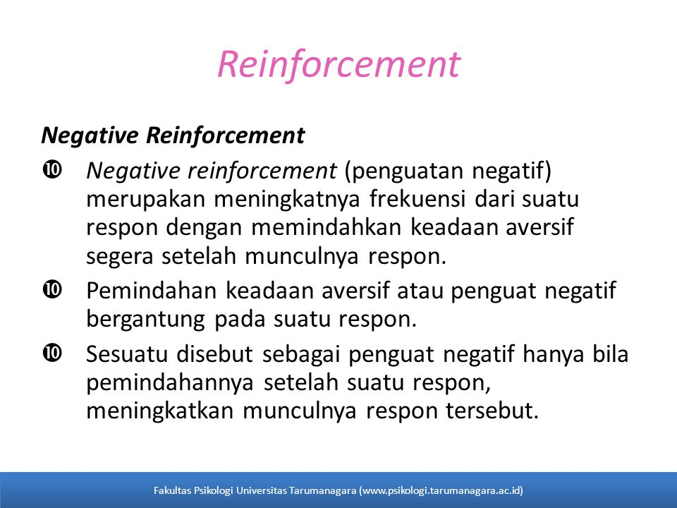 Reinforcement Negative Reinforcement