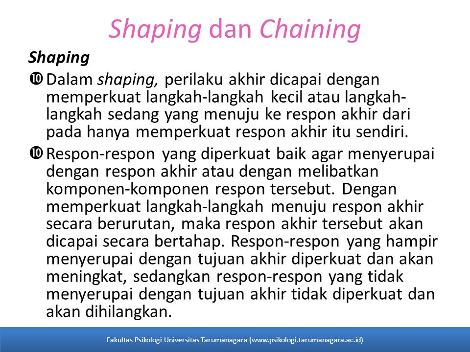Shaping dan Chaining Shaping