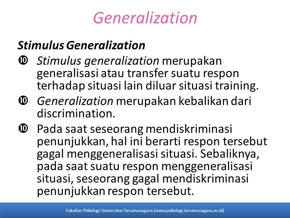 Generalization Stimulus Generalization