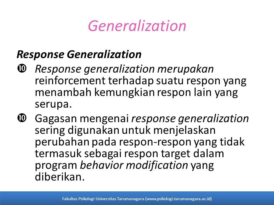 Generalization Response Generalization