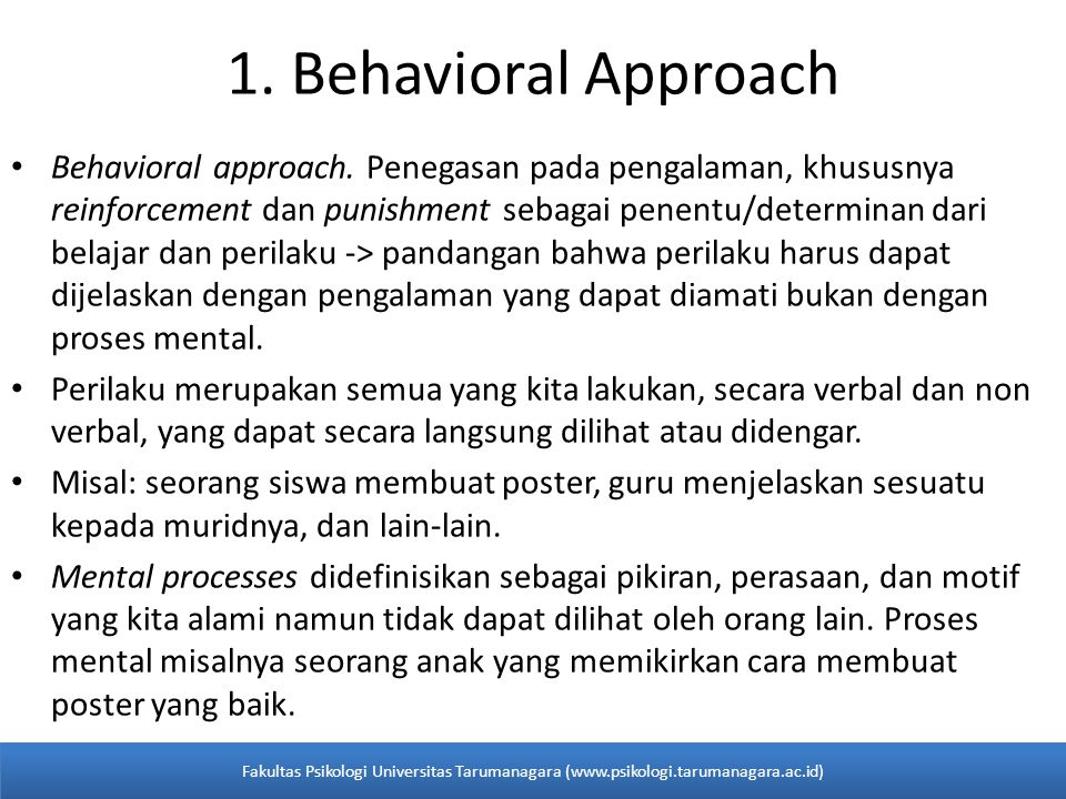 1. Behavioral Approach
