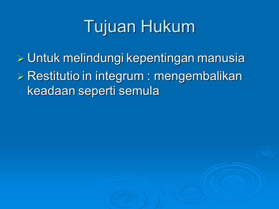 Tujuan Hukum Untuk melindungi kepentingan manusia