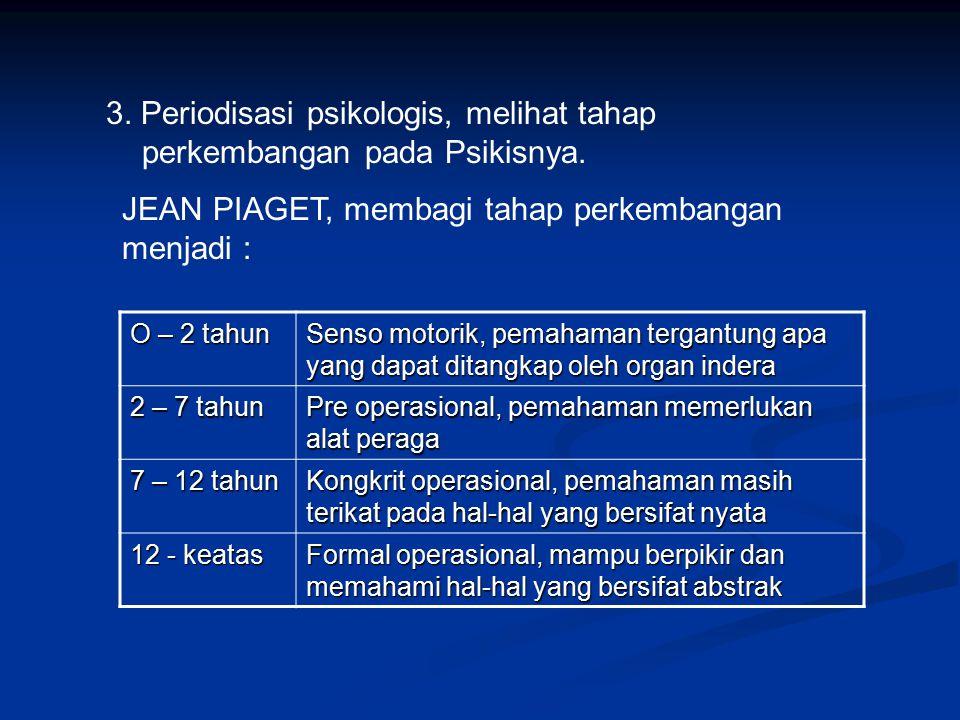 3. Periodisasi psikologis, melihat tahap perkembangan pada Psikisnya.