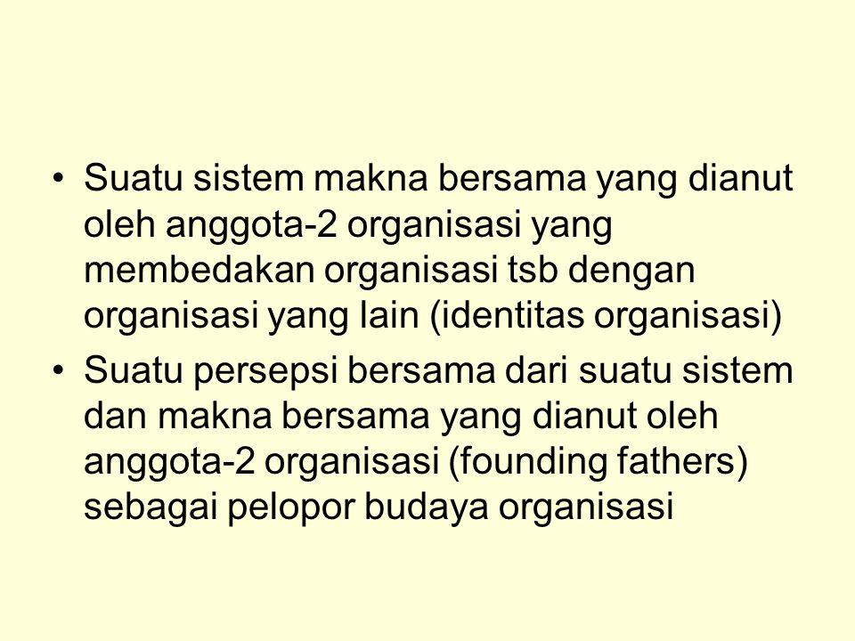 Suatu sistem makna bersama yang dianut oleh anggota-2 organisasi yang membedakan organisasi tsb dengan organisasi yang lain (identitas organisasi)