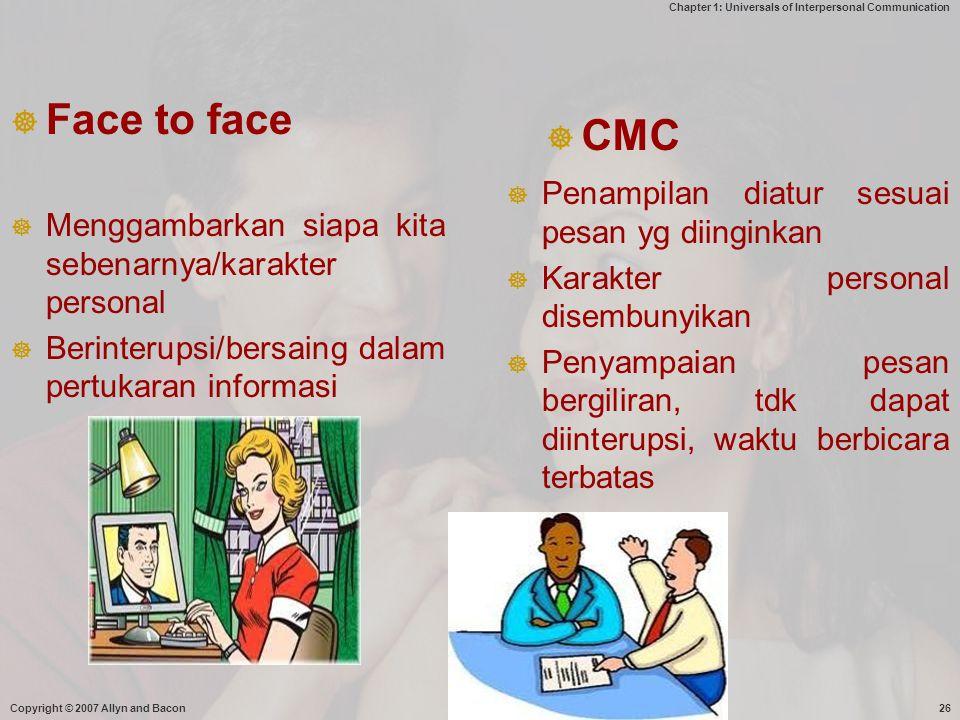 Face to face CMC Penampilan diatur sesuai pesan yg diinginkan