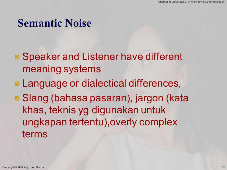 Semantic Noise Speaker and Listener have different meaning systems