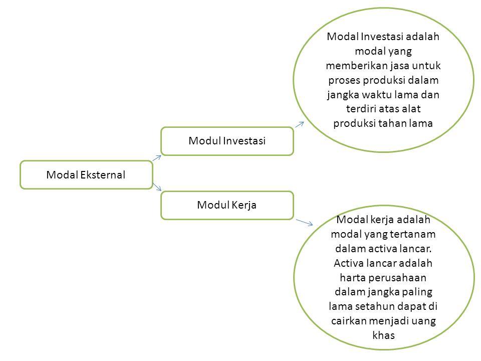 Modal Investasi adalah modal yang memberikan jasa untuk proses produksi dalam jangka waktu lama dan terdiri atas alat produksi tahan lama