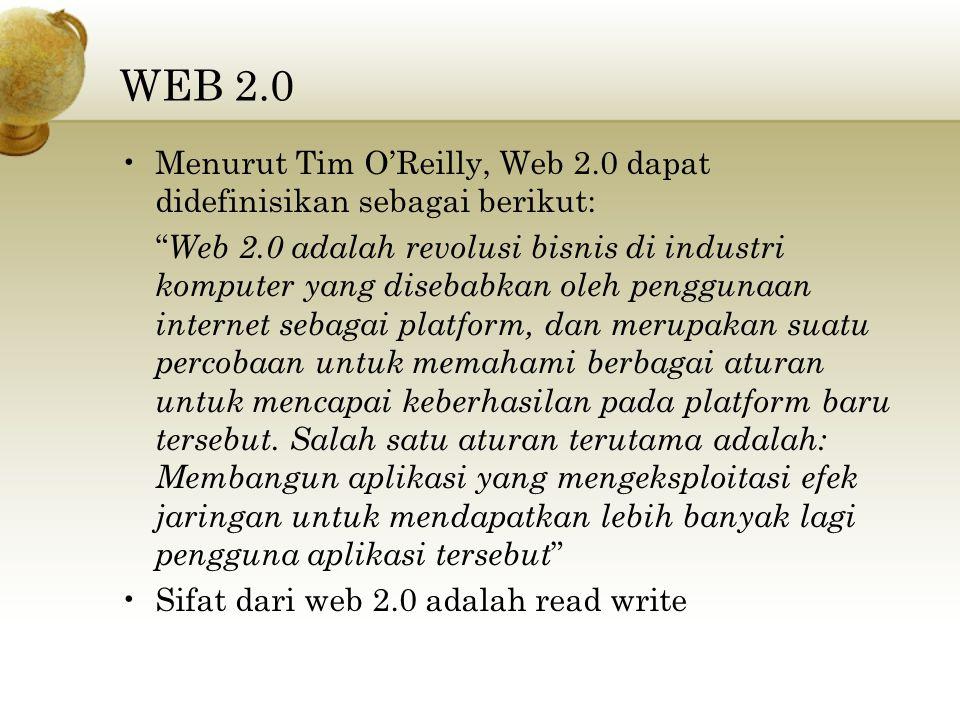 WEB 2.0 Menurut Tim O'Reilly, Web 2.0 dapat didefinisikan sebagai berikut: