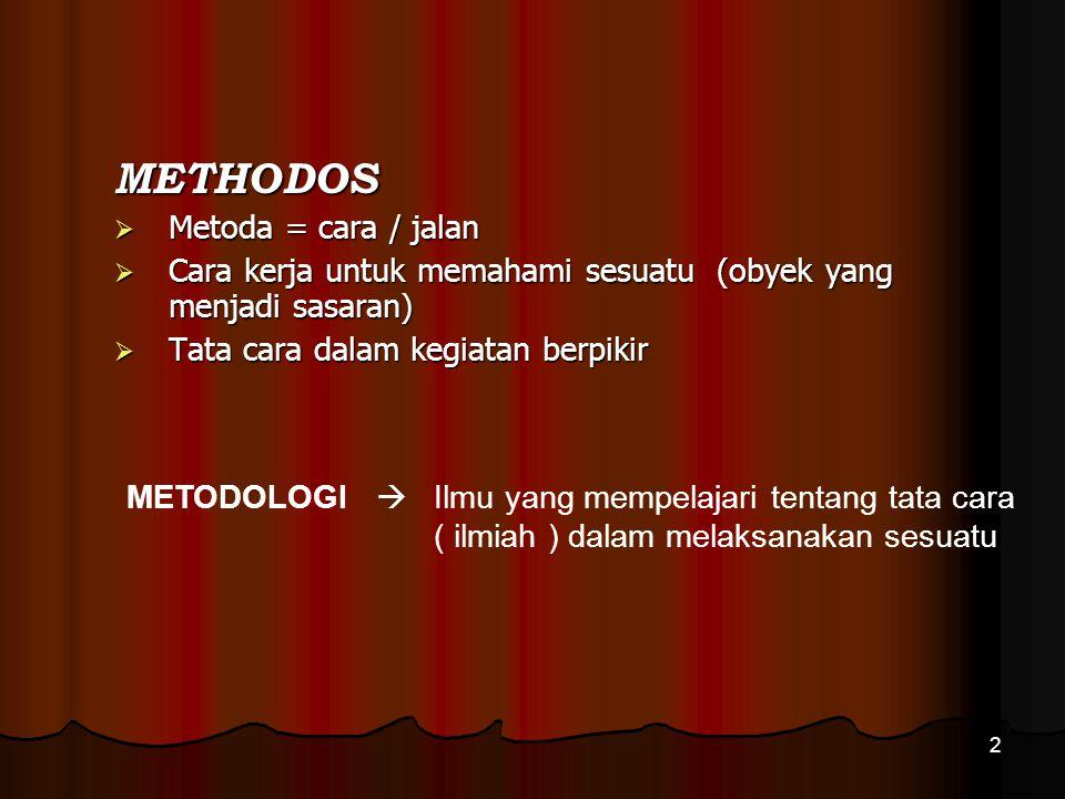 METHODOS Metoda = cara / jalan