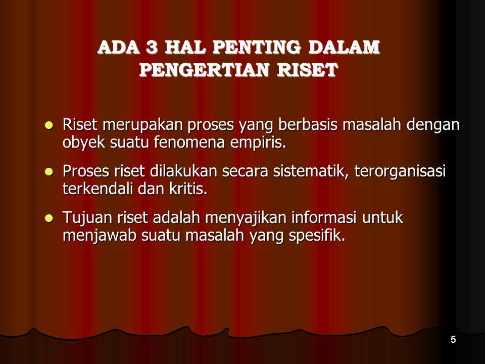 ADA 3 HAL PENTING DALAM PENGERTIAN RISET
