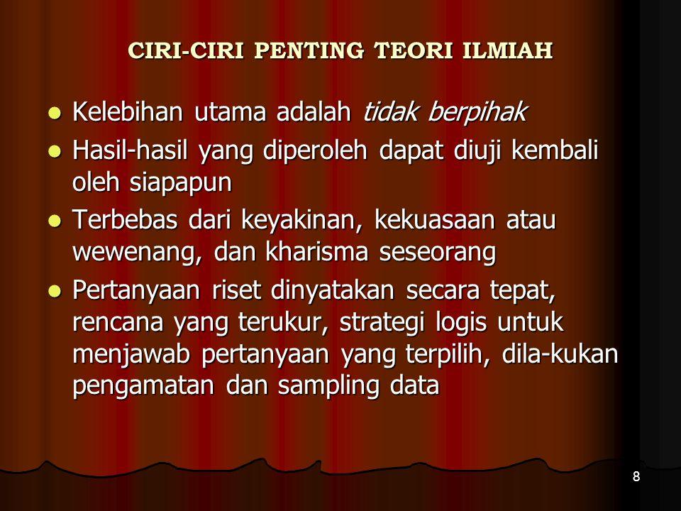 CIRI-CIRI PENTING TEORI ILMIAH