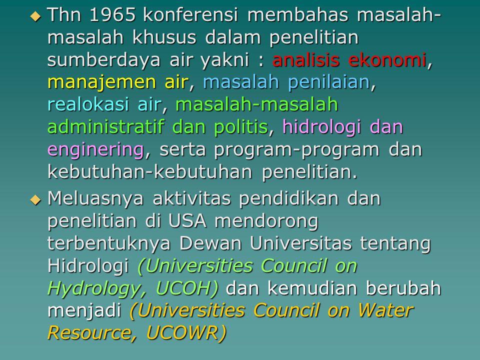 Thn 1965 konferensi membahas masalah-masalah khusus dalam penelitian sumberdaya air yakni : analisis ekonomi, manajemen air, masalah penilaian, realokasi air, masalah-masalah administratif dan politis, hidrologi dan enginering, serta program-program dan kebutuhan-kebutuhan penelitian.