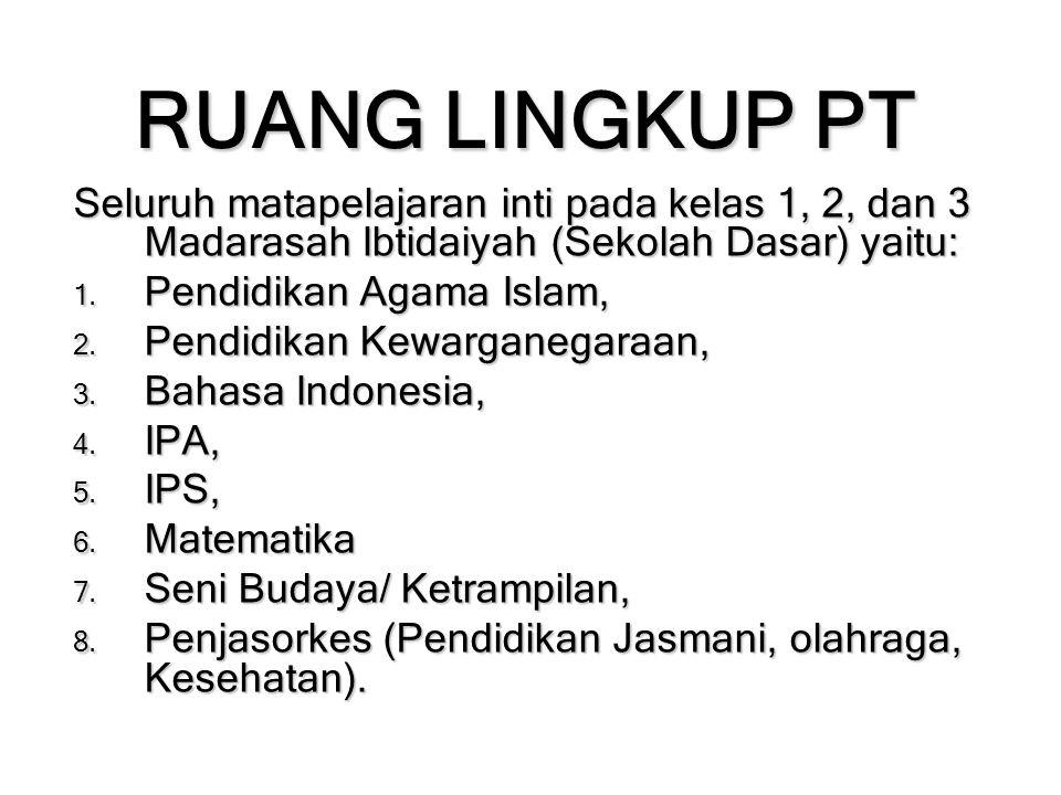 RUANG LINGKUP PT Seluruh matapelajaran inti pada kelas 1, 2, dan 3 Madarasah Ibtidaiyah (Sekolah Dasar) yaitu: