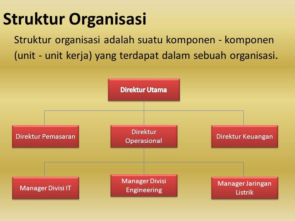 Struktur Organisasi Struktur organisasi adalah suatu komponen - komponen (unit - unit kerja) yang terdapat dalam sebuah organisasi.