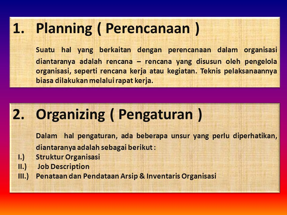 Planning ( Perencanaan )