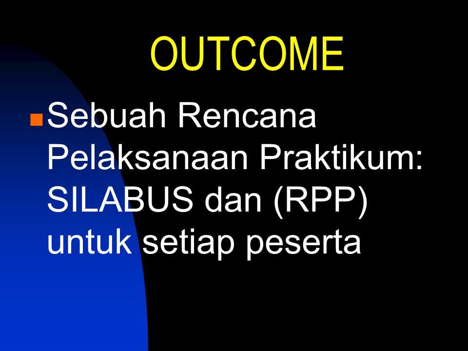OUTCOME Sebuah Rencana Pelaksanaan Praktikum: SILABUS dan (RPP) untuk setiap peserta