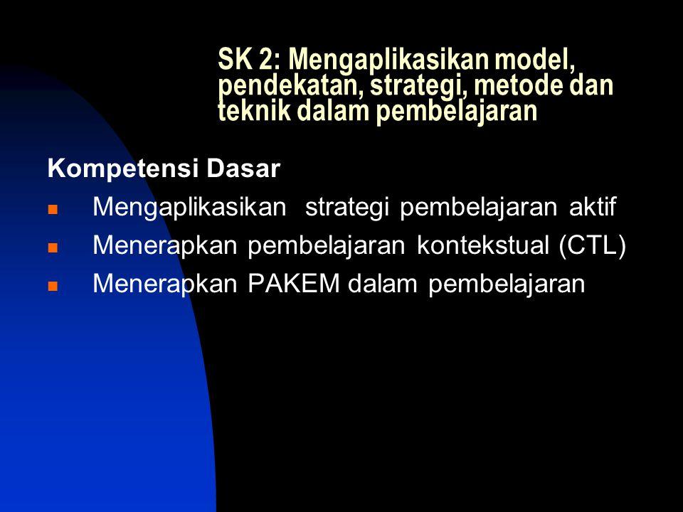 SK 2: Mengaplikasikan model, pendekatan, strategi, metode dan teknik dalam pembelajaran