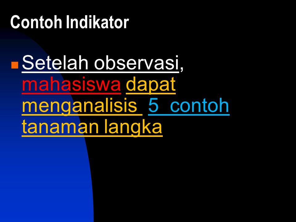 Contoh Indikator Setelah observasi, mahasiswa dapat menganalisis 5 contoh tanaman langka