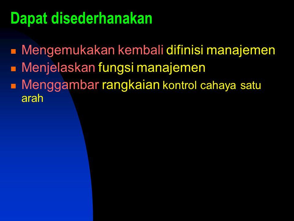 Dapat disederhanakan Mengemukakan kembali difinisi manajemen