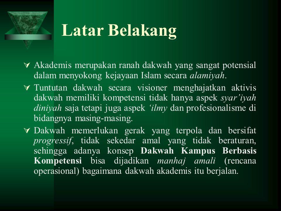 Latar Belakang Akademis merupakan ranah dakwah yang sangat potensial dalam menyokong kejayaan Islam secara alamiyah.