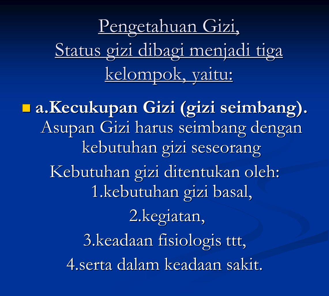Pengetahuan Gizi, Status gizi dibagi menjadi tiga kelompok, yaitu: