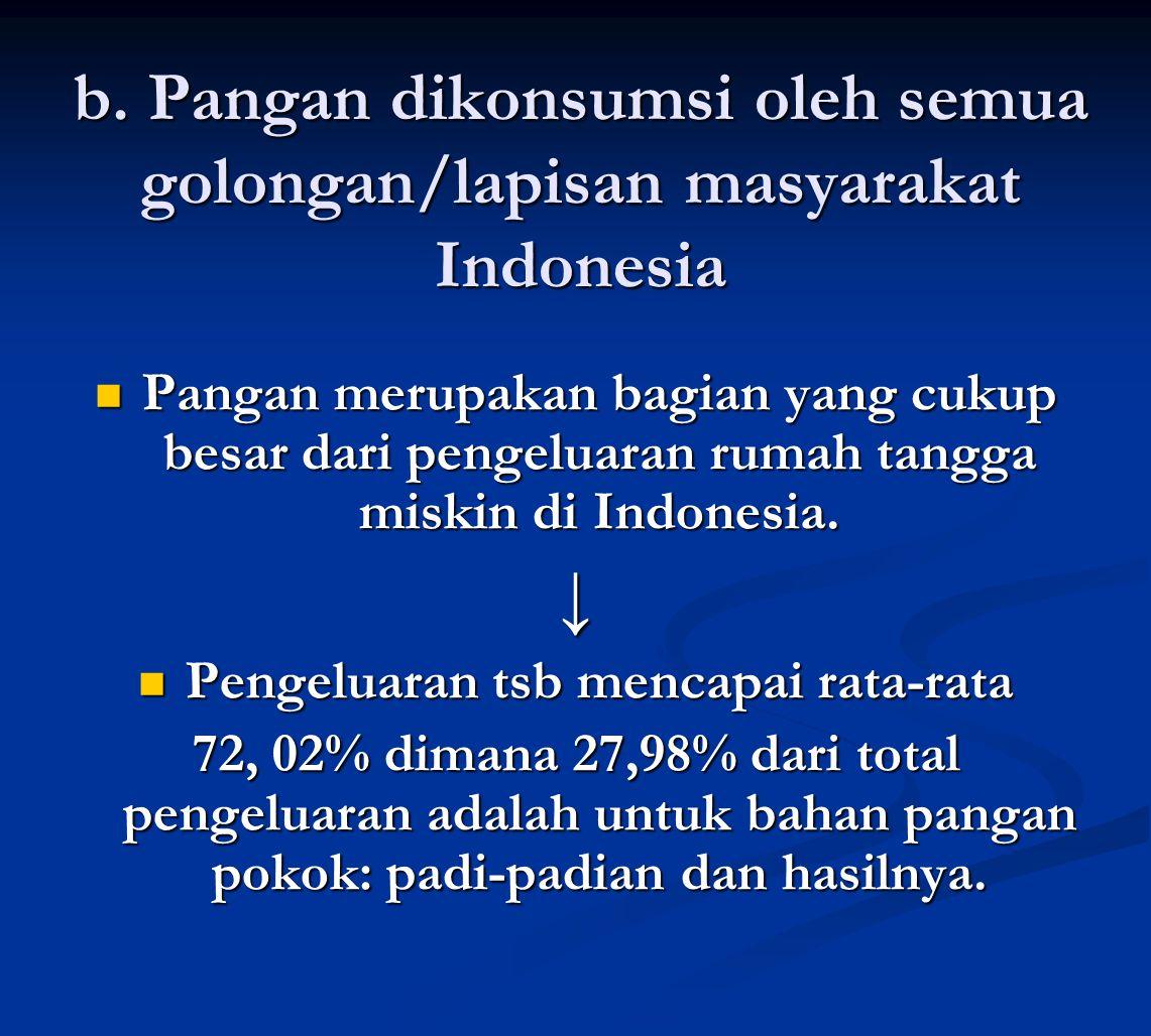 b. Pangan dikonsumsi oleh semua golongan/lapisan masyarakat Indonesia