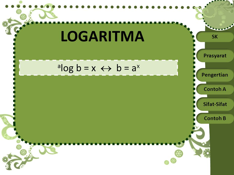 LOGARITMA alog b = x  b = ax