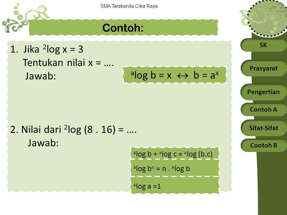 Contoh: 1. Jika 2log x = 3 Tentukan nilai x = …. Jawab: