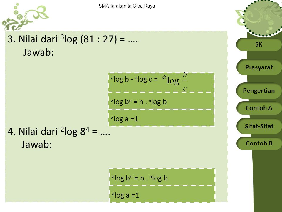 3. Nilai dari 3log (81 : 27) = …. Jawab: 4. Nilai dari 2log 84 = ….