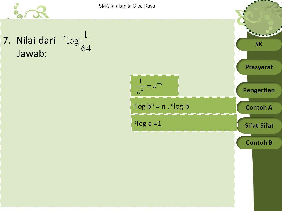7. Nilai dari Jawab: alog bn = n . alog b alog a =1